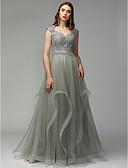 preiswerte Abendkleider-A-Linie Schulterfrei Asymmetrisch Spitze / Tüll Formeller Abend Kleid mit Perlenstickerei / Applikationen durch TS Couture®