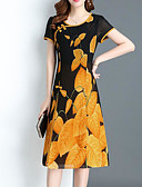 cheap Plus Size Dresses-Women's Plus Size Going out Chinoiserie Sheath Dress Print Red Yellow XXXL XXXXL XXXXXL