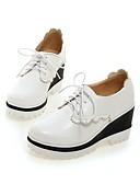 hesapli Elbiseler-Kadın's Oxford Modeli Konforlu Ayakkabılar Dolgu Topuk Yuvarlak Uçlu PU İlkbahar & Kış Siyah / Pembe / Açık Mavi / Günlük