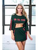 baratos Vestidos de Mulher-Mulheres Para Noite Esportivo Algodão Skinny Tubinho Vestido - Estampado, Letra Mini / Primavera / Outono