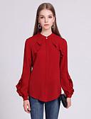 Χαμηλού Κόστους Φορέματα ειδικών περιστάσεων-Γυναικεία Μπλούζα Βαμβάκι Μονόχρωμο Ρουμπίνι