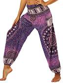 tanie Akcesoria do tańca-Damskie Haremki / Marszczona talia Spodnie do jogi - Ametyst Sport Kwiatowy wzór, Artystyczny, Hipisowskie Spodenki kobiece / Doły Taniec brzucha, Fitness Odzież sportowa Lekki, Oddychający