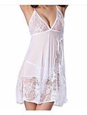 tanie Męskie koszule-Damskie Seksowny Bralet z majtkami Bielizna nocna - Odkryte plecy Solidne kolory / Głęboki dekolt w serek
