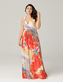 cheap Women's Dresses-Women's Plus Size Beach Boho Dress - Graphic Print Maxi V Neck