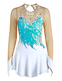 cheap Ice Skating Dresses , Pants & Jackets-Figure Skating Dress Women's / Girls' Ice Skating Dress Pale Blue Flower Spandex High Elasticity Performance Skating Wear Handmade Solid Colored Long Sleeve Ice Skating / Figure Skating