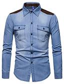 זול חולצות לגברים-קולור בלוק מידות גדולות כותנה, חולצה - בגדי ריקוד גברים / שרוול ארוך
