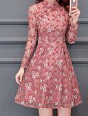 رخيصةأون دانتيل رومانسي-فستان نسائي ثوب ضيق أساسي دانتيل فوق الركبة نحيل رقبة عالية مدورة