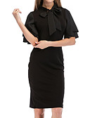 cheap Women's Hoodies & Sweatshirts-Women's Going out Slim Sheath Dress - Solid Colored Black, Ruffle
