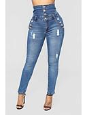 cheap Women's Pants-Women's Jeans Pants - Solid Colored Black & White, Tassel