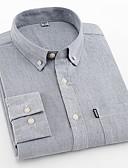 billige Herreskjorter-Tynd Herre - Ensfarvet Bomuld Forretning / Basale Arbejde Plusstørrelser Skjorte / Langærmet