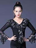 ieftine Salopete Damă-Dans de Societate Tops Pentru femei Performanță Mătase de Gheață Dantelă / Ruching Manșon Lung Vârf