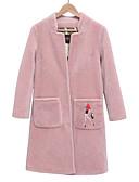 olcso Női gyapjú és gyapjú keverék kabátok-Női Napi Hosszú Kabát, Egyszínű Állógallér Hosszú ujj Gyapjú Fekete / Rubin / Arcpír rózsaszín XL / XXL / XXXL
