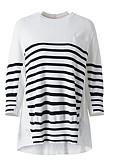 זול טרנינגים וקפוצ'ונים לנשים-מבוגרים M / L / XL לבן צווארון עגול פוליאסטר, סוודר רגיל רגיל שרוול ארוך פסים יומי בגדי ריקוד נשים