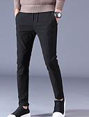 abordables Abrigos de 100% Lana y Mezcla de Lana para Mujeres-Hombre Básico Tallas Grandes Algodón Vaqueros / Chinos Pantalones - Un Color Negro