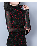 cheap Sweater Dresses-women's t-shirt - polka dot crew neck