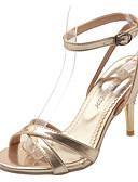 זול שמלות NYE-בגדי ריקוד נשים סנדלים נעלי נוחות עקב סטילטו PU אביב זהב / כסף / אדום