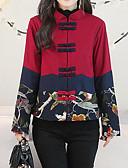 ieftine Bluză-Pentru femei Ieșire Șic Stradă Regular Jachetă, Floral / Botanic / Bloc Culoare Rotund Manșon Lung Poliester Roșu Vin L / XL / XXL