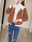 ieftine Tricou-Pentru femei Ieșire Regular Jachetă, Bloc Culoare Capișon Manșon Lung Bumbac Verde Militar / Kaki M / L / XL