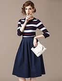 povoljno Majica s rukavima-Žene Ulični šik Sweater - Prugasti uzorak, Kolaž Suknja