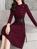 tanie W stylu vintage-Damskie Casual Linia A Sukienka - Solidne kolory Midi