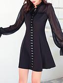 baratos Biquínis e Roupas de Banho Femininas-Mulheres Básico Vestidinho Preto Vestido - Com Transparência, Sólido Mini