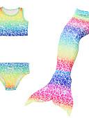 billige Badetøj til piger-Børn Pige Aktiv Sport Havfruehale Lille Havfrue Farveblok Uden ærmer Bomuld Badetøj Regnbue