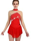 abordables Robe de Patinage-Robe de Patinage Artistique Femme Fille Patinage Robes Rouge Haute élasticité Entraînement Compétition Tenue de Patinage Séchage rapide Design Anatomique Classique Sexy Manches Longues Patinage sur