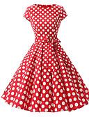 baratos Vestidos de Mulher-Mulheres Tamanhos Grandes Vintage Algodão Evasê Vestido - Estampado, Poá Médio
