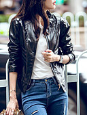 cheap Women's Leather & Faux Leather Jackets-Women's Daily Regular Leather Jacket, Solid Colored Stand Long Sleeve Faux Leather Black / Orange L / XL / XXL