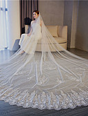cheap Wedding Veils-One-tier Vintage Style / Flower Style Wedding Veil Chapel Veils with Appliques / Solid 137.8 in (350cm) Lace / Tulle