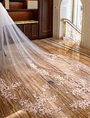 זול הינומות חתונה-שתי שכבות פרחוני / תחרה הינומות חתונה צעיפי קתדרלה עם אפליקציות תחרה / טול