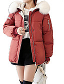 cheap Women's Down & Parkas-Women's Going out Letter Regular Padded, Polyester / POLY Long Sleeve Hooded Red / Gray / Army Green L / XL / XXL