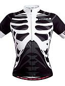 hesapli Bisiklet Formaları-WOSAWE Erkek Unisex Kısa Kollu Bisiklet Forması - Siyah / Beyaz İskelet Bisiklet Forma Üstler, Nefes Alabilir Hızlı Kuruma Pochłanianie potu Polyester / Streç / Gelişmiş