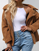 cheap Women's Coats & Trench Coats-Women's Daily / Going out Street chic / Sophisticated Spring / Fall & Winter Plus Size Regular Jacket, Solid Colored Turndown Long Sleeve Lamb Fur Black / Pink / Camel XL / XXL / XXXL