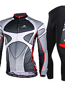 cheap Men's Jackets & Coats-Nuckily Men's Long Sleeve Cycling Jersey with Tights - Gray Bike Clothing Suit Windproof Breathable Quick Dry Ultraviolet Resistant Reflective Strips Sports Polyester Lycra Gradient Mountain Bike MTB
