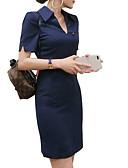 baratos Vestidos Estampados-Mulheres Para Noite Tubinho Vestido Colarinho de Camisa Cintura Alta Acima do Joelho