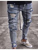 رخيصةأون بنطلونات و شورتات رجالي-رجالي أساسي نحيل جينزات بنطلون - لون سادة أزرق
