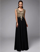 cheap Prom Dresses-A-Line U Neck Floor Length Chiffon / Lace Formal Evening Dress with Appliques by TS Couture®