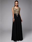 baratos Vestidos de Coquetel-Linha A Decote U Longo Chiffon / Renda Evento Formal Vestido com Apliques de TS Couture®