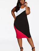 baratos Vestidos de Mulher-Mulheres Básico Bainha Vestido - Patchwork, Estampa Colorida Altura dos Joelhos