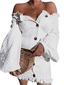 זול שמלות נשים-בגדי ריקוד נשים כותנה רזה מכנסיים - אחיד לבן / מיני / צווארון U