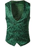 billige Herreblazere og jakkesæt-Herre Arbejde Normal Vest, Ensfarvet V-hals Uden ærmer Polyester Hvid / Sort / Rød M / L / XL / Forretningsmæssigt afslappet