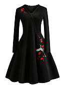 cheap Vintage Dresses-Women's Daily / Going out Vintage / Elegant Slim Sheath / Little Black Dress - Floral Embroidered V Neck Spring Cotton Black XXL XXXL 4XL