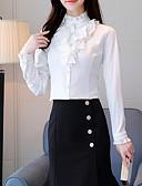hesapli Bluz-Kadın's Dik Yaka İnce - Bluz Solid Temel Dışarı Çıkma Beyaz