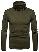 cheap Men's Sweaters & Cardigans-Men's T-shirt - Solid Colored Turtleneck Navy Blue L / Long Sleeve