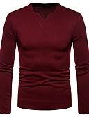 povoljno Muške majice i potkošulje-Majica s rukavima Muškarci - Osnovni Dnevno Jednobojni V izrez / Dugih rukava
