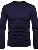 cheap Men's Tees & Tank Tops-Men's Basic T-shirt - Solid Colored Round Neck / Long Sleeve