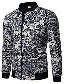 cheap Men's Jackets & Coats-Men's Holiday / Club Street chic / Punk & Gothic Spring / Fall & Winter Regular Jacket, Floral / Botanical Round Neck Long Sleeve Linen / Rayon Print White L / XL / XXL