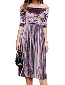 cheap Maxi Dresses-Women's Daily Flare Sleeve Chiffon Dress V Neck Spring Cotton Purple Wine Royal Blue M L XL / Sexy