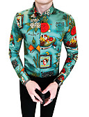 cheap Men's Shirts-Men's Vintage Slim Shirt - Floral / Color Block / Letter Classic Collar / Long Sleeve / Fall